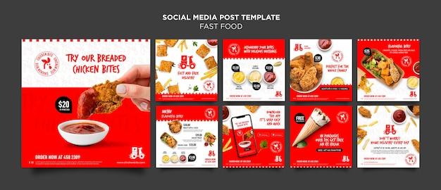 Modello di post sui social media di fast food