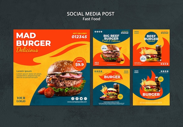 Modello di post sui social media di fast food