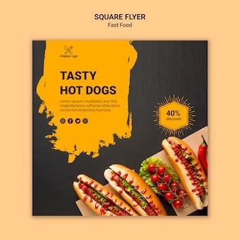 Modello di volantino quadrato fast food