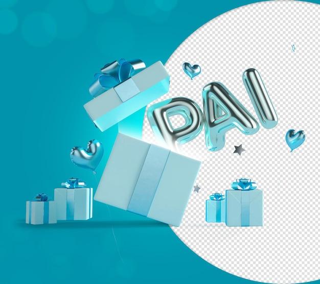 Padre testo 3d in uscita dalla confezione regalo palloncini blu