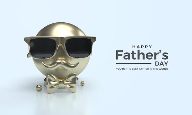 Render 3d per la festa del papà con grani d'oro grandi e occhiali d'oro