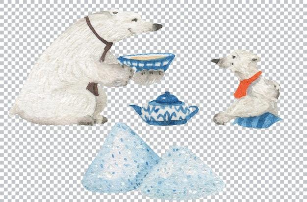 Padre e figlio orsi bevono il tè. illustrazione ad acquerello, elementi a strati