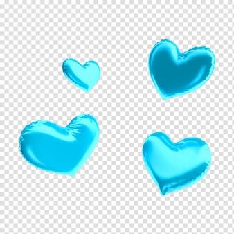 Cuori di palloncini blu festa del papà per rendering 3d di composizione
