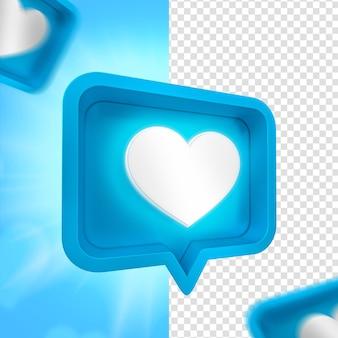 Festa del papà cuore blu emoji facebook per composizione 3d render