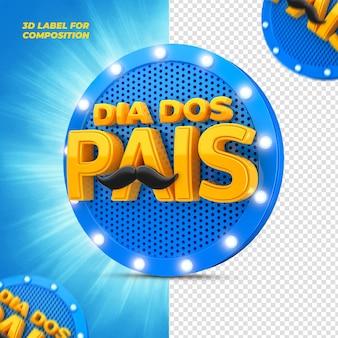 Festa del papà con podio blu per il rendering 3d delle campagne brasiliane