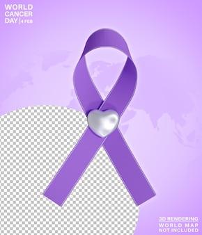 Simbolo di giornata mondiale del cancro di consapevolezza di febbraio con amore 3d rendering isolato