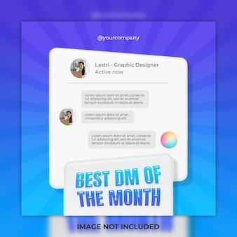 Feedback concept design del modello e miglior post sui social media dm e modello di post su instagram