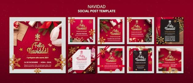 Modello di post sui social media di feliz navidad