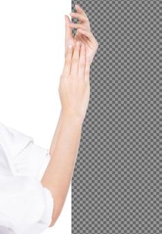La bella mano femminile di talento tocca la pelle liscia applica la crema di trattamento idratante, isolata. la ragazza esprime la sensazione di toccare la pelle liscia e delicata delle mani delle dita della lozione, illuminazione dello studio sfondo bianco psd