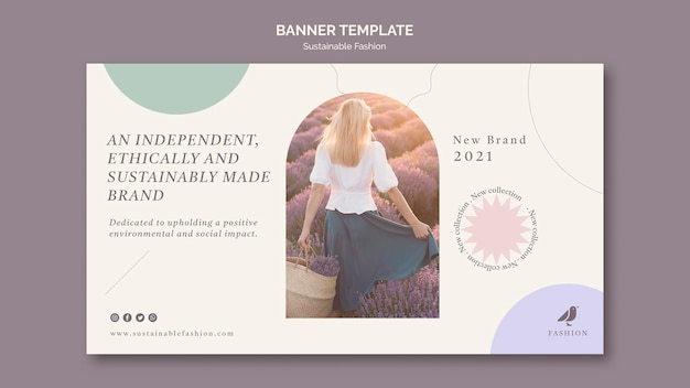 Modello di banner di moda femminile sostenibile