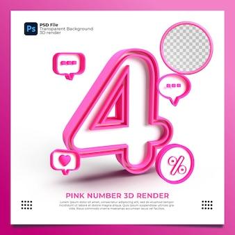 Numero femminile 4 3d render colore rosa con elemento