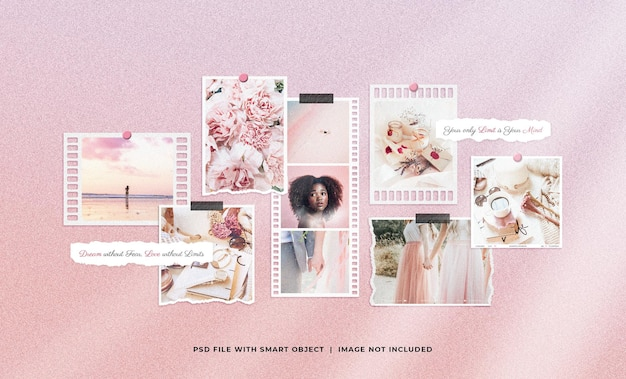 Mockup di collage di moodboard femminile