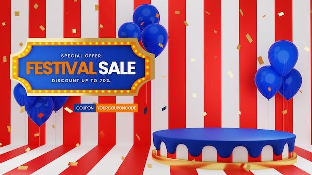 Saldi festival con palloncini e confetti Psd Premium