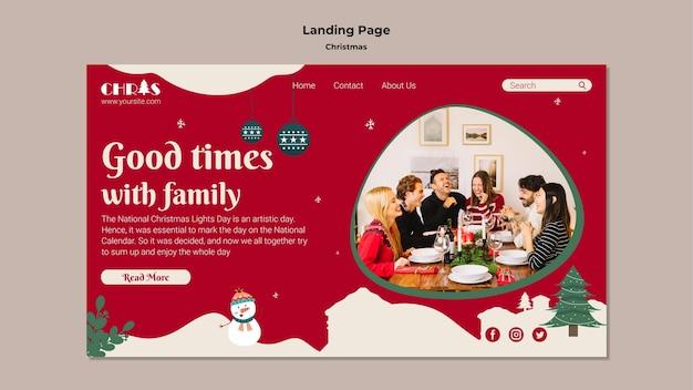 Modello di pagina di destinazione di natale festivo