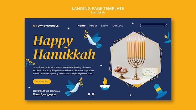 Modello di pagina di destinazione dell'hanukkah festivo