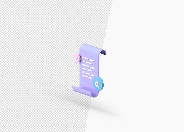 Concetto di documento file con rendering 3d