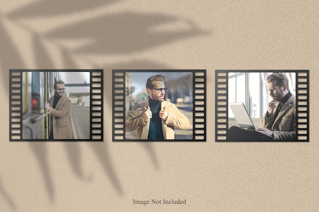 Mockup di foto di strisce di pellicola con sovrapposizione di ombre