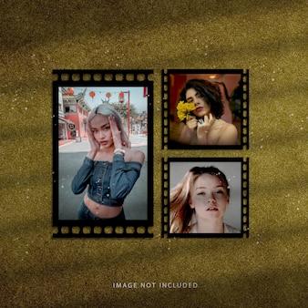 Set di mockup di cornici per foto con pellicola