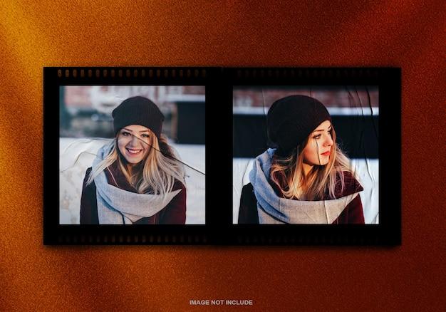 Mockup di cornice per foto con pellicola con effetto incollato premium psd
