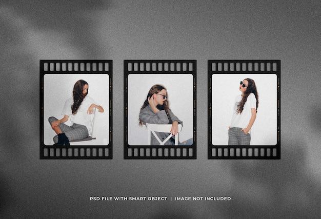 Mockup di set di cornici per foto con ritratto su pellicola con sovrapposizione di ombre