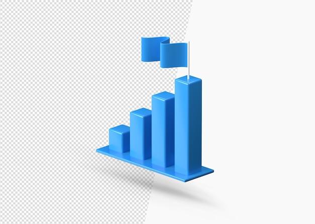 Icona blu 3d di statistiche di crescita di affari di finanza