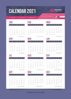Modello di calendario da parete delle finanze