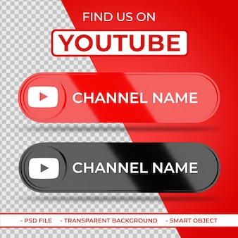 Trovaci sull'icona 3d dei social media di youtube con il nome del canale