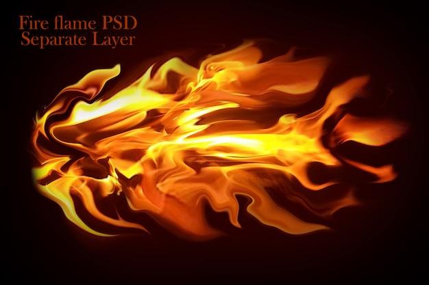 Il fuoco fiammeggia il fondo nero