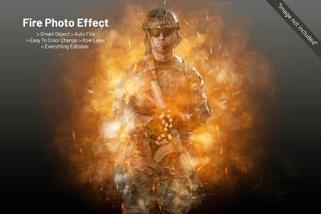 Modello effetto foto fuoco