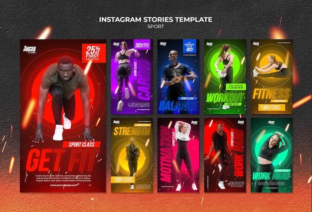 Modello di storie di instagram per lezioni di fitness