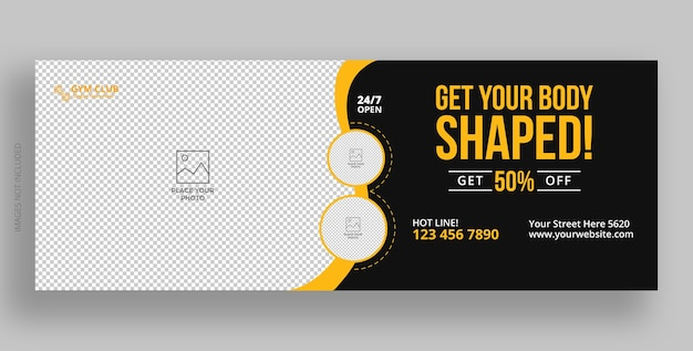 Fitness palestra facebook cover template design
