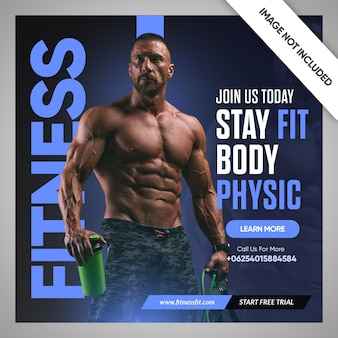 Volantino palestra fitness post social media e modello banner web