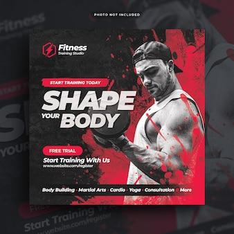 Volantino palestra fitness post banner web sui social media