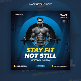 Fitness e palestra social media instagram post e design flyer quadrato