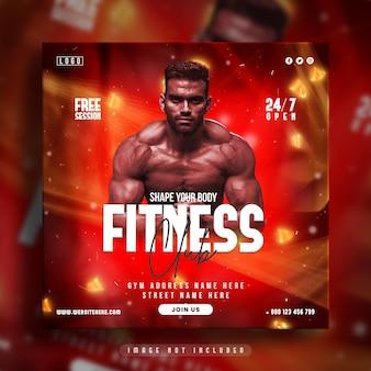 Post di social media palestra fitness e modello di banner web
