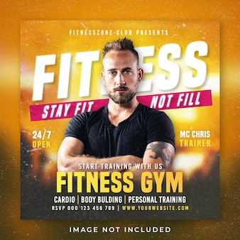 Modello di post banner quadrato social media palestra fitness