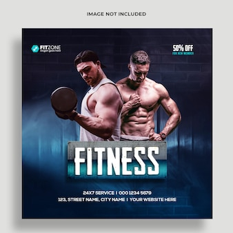 Fitness palestra formazione social media e modello banner web premium psd