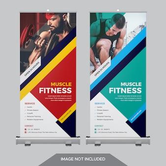 Modello di bandiera di roll up fitness