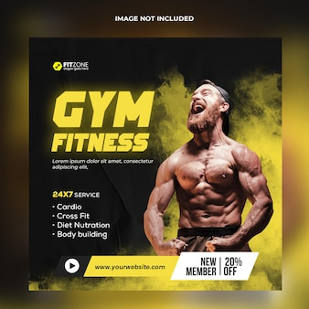 Modello di post per social media fitness primium psd