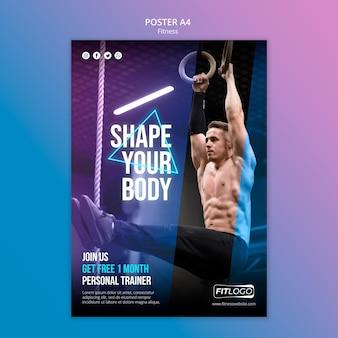 Modello di poster di fitness trainer