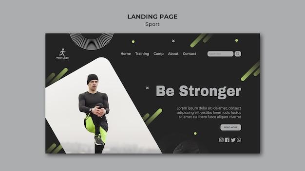 Modello di pagina di destinazione per allenamento fitness