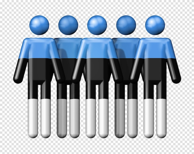 Bandiera dell'estonia sulla figura stilizzata icona 3d di simbolo della comunità nazionale e sociale