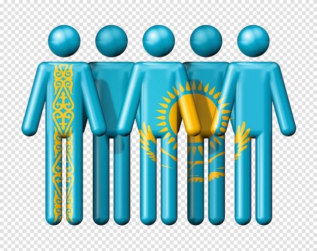 Bandiera del kazakistan sulla figura stilizzata simbolo 3d della comunità nazionale e sociale
