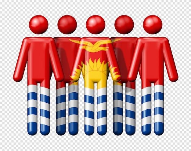 Bandiera di kiribati sulla figura stilizzata simbolo 3d della comunità nazionale e sociale