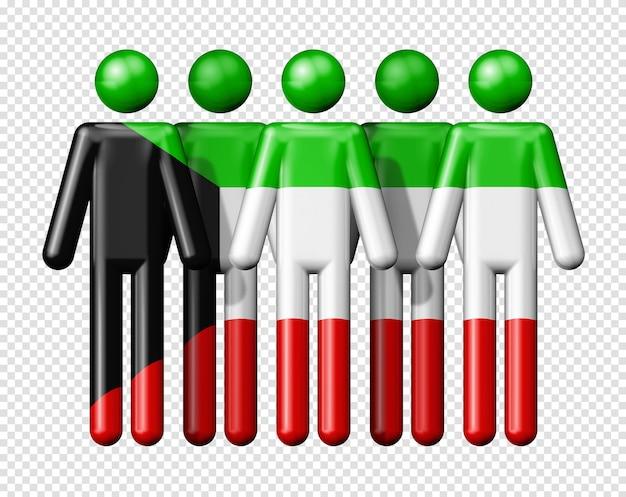 Bandiera del kuwait sulla figura stilizzata simbolo 3d della comunità nazionale e sociale