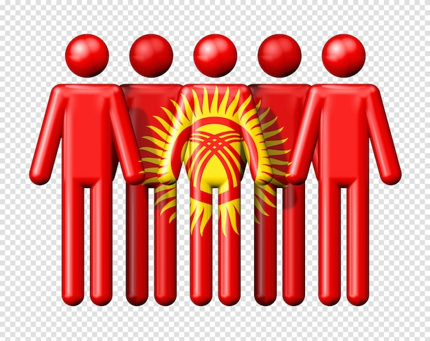 Bandiera del kirghizistan sul simbolo 3d della comunità nazionale e sociale di figura stilizzata