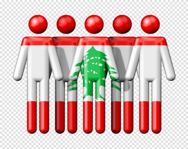 Bandiera del libano sulla figura stilizzata della comunità sociale e nazionale 3d simbolo