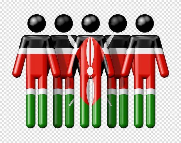 Bandiera del kenya sulla figura stilizzata simbolo 3d della comunità nazionale e sociale
