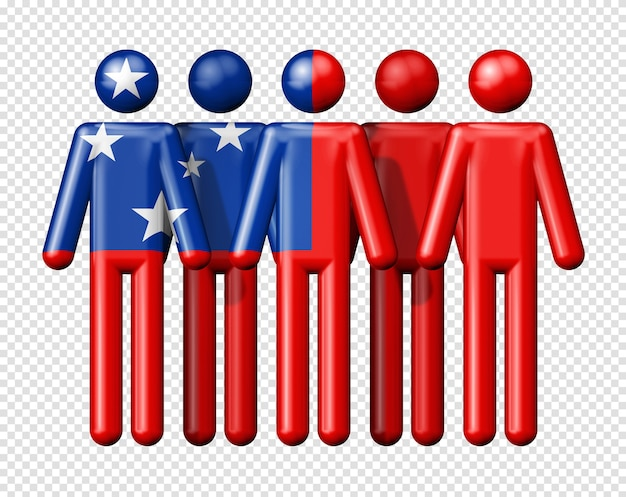 Bandiera di samoa sulla figura stilizzata della comunità nazionale e sociale 3d simbolo