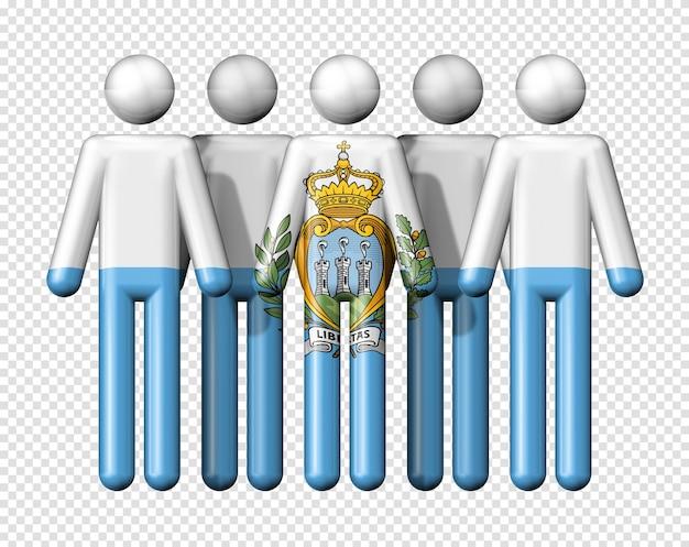 Bandiera di san marino sulla figura stilizzata della comunità sociale e nazionale simbolo 3d
